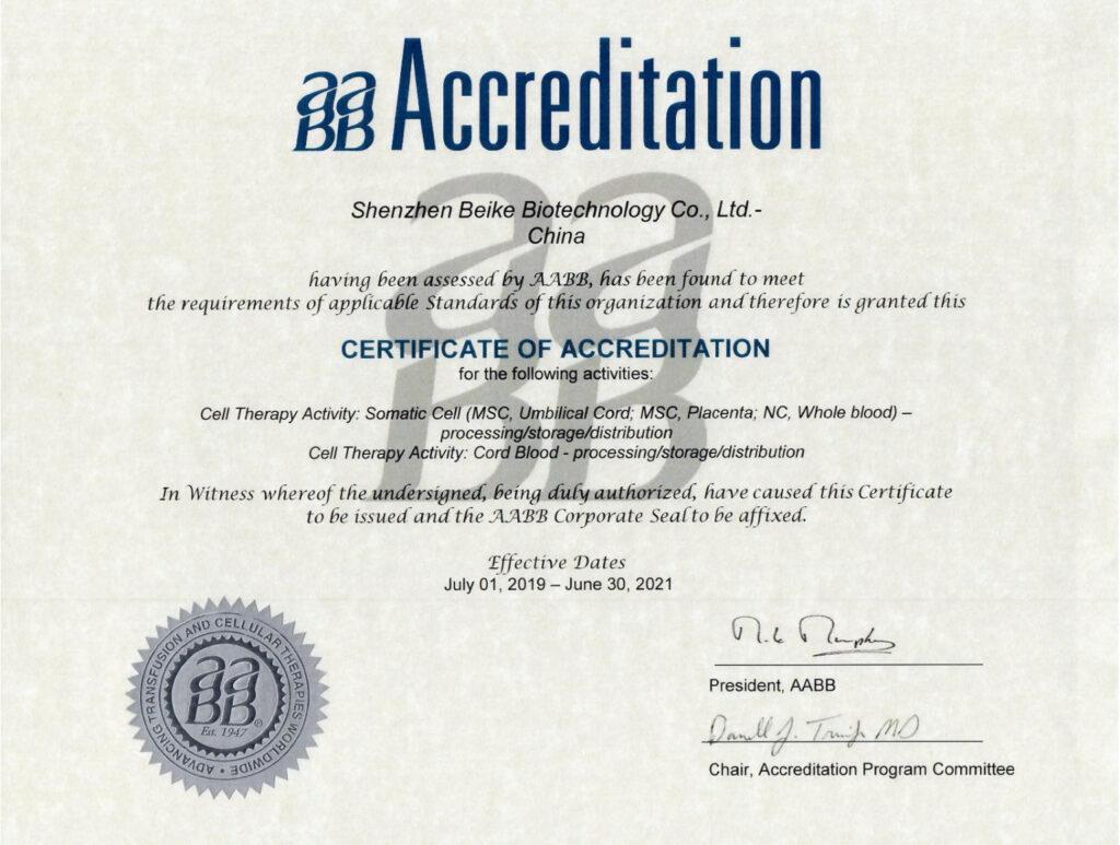 23 Century Certificate of Accreditation (AABB)
