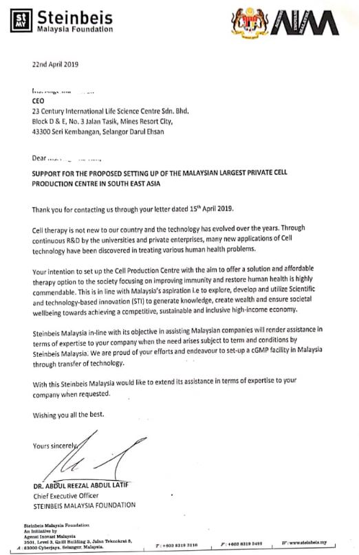 23 Century Steinbeis Malaysia Support Letter